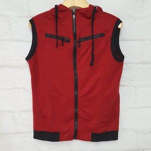 3/$30 Men's Hooded Vest Red Black Sz L